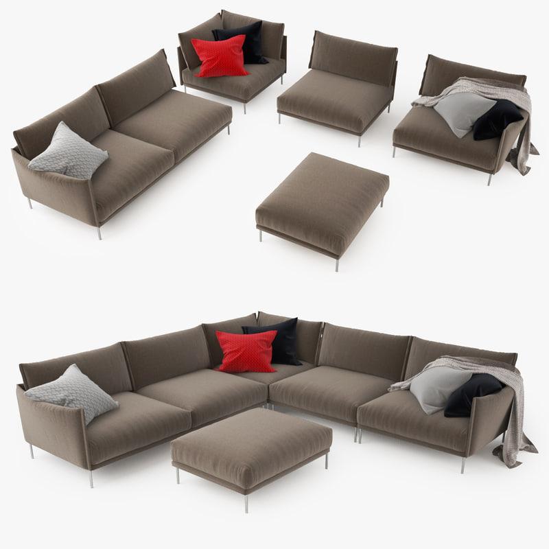 moroso gentry sofa 3d model. Black Bedroom Furniture Sets. Home Design Ideas