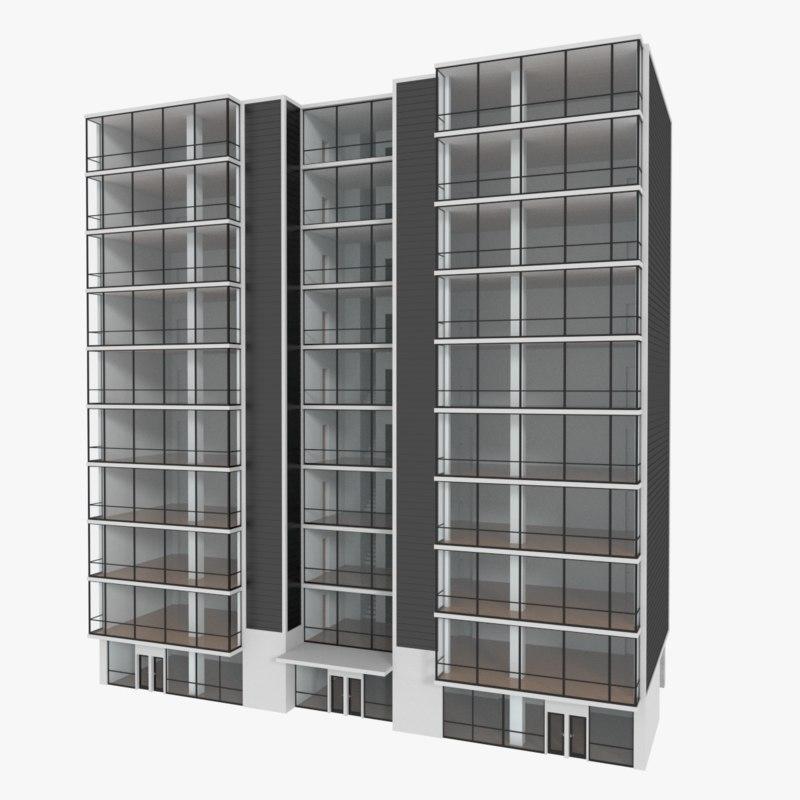 obj apartment building interior exterior
