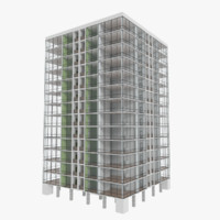 3d apartment skyscraper building interior model