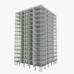 3d apartment skyscraper building interior model