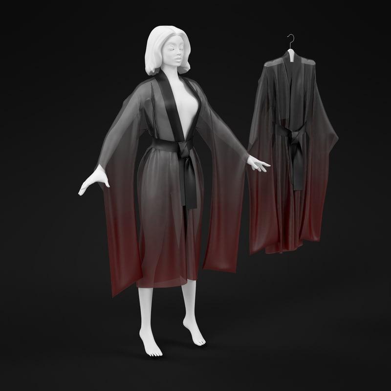 3d hight silk kimono model