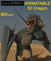 dragon creature thrones 3d model