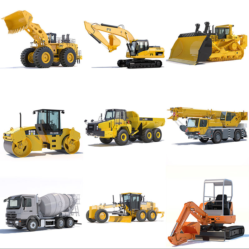 3d model of public works machines excavator