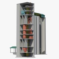 concrete silo line 3d model