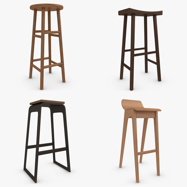 bar stool set 3d model