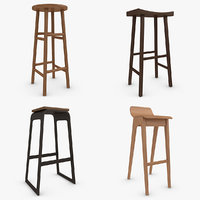 bar stool set 3d model