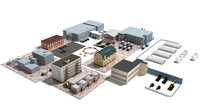 3d architectural factories buildings food