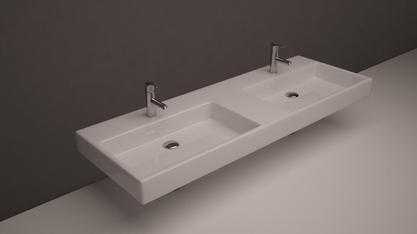 double sinks 3d model