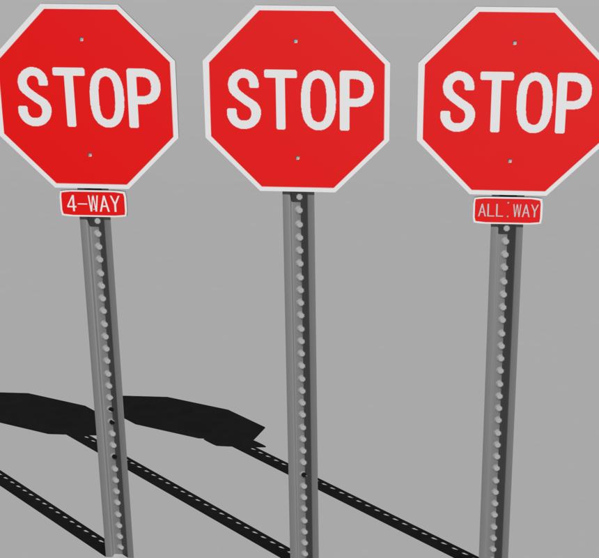 stop sign 3d max