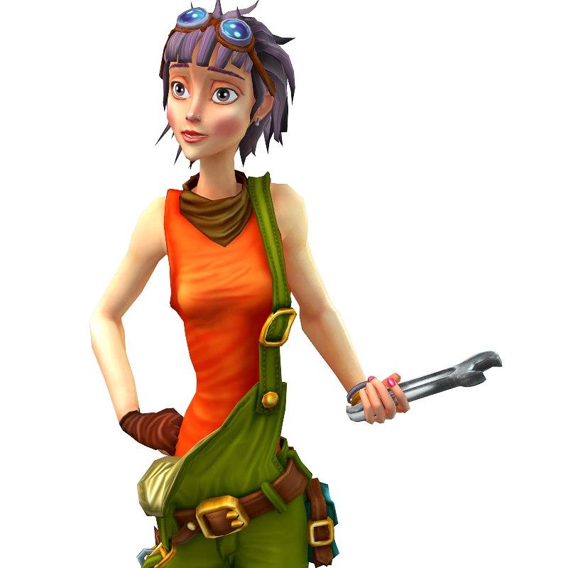 3d model mechanic girl