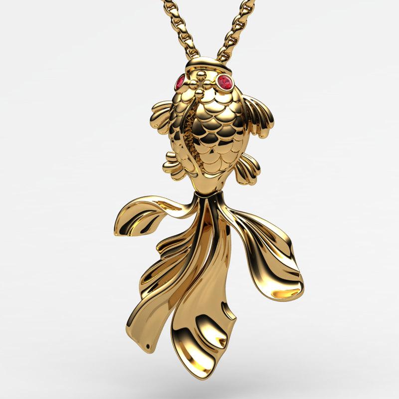 3d gold fish pendant model