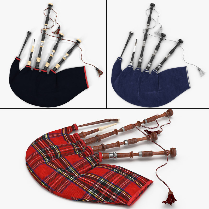 3d bagpipes modeled blue