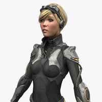 female sci fi suit 3d max