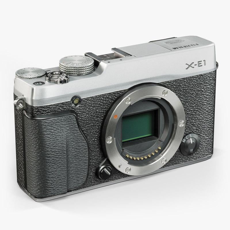 3d model low-poly fujifilm x-e1 silver
