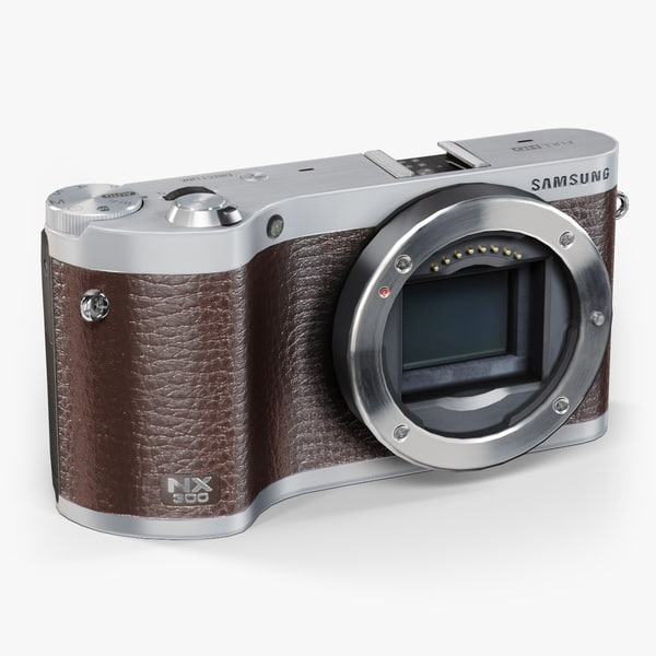 low-poly samsung nx300 brown 3d model