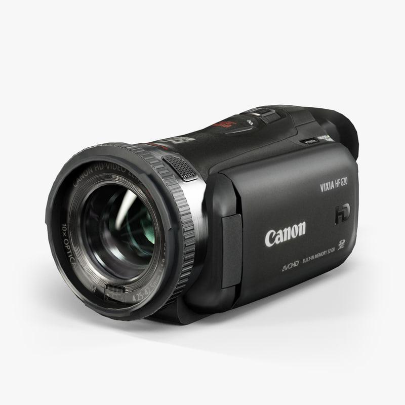 low-poly canon vixia hf 3d max