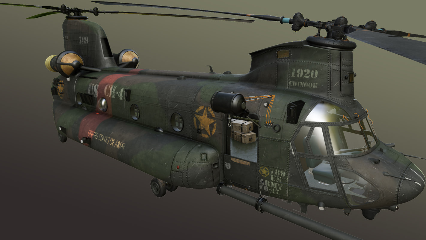 3d max ch-47 chinook transport