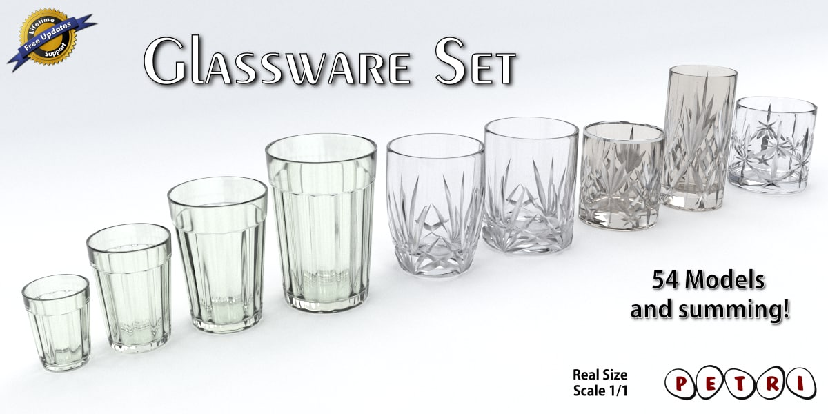 3d glassware - glasses set