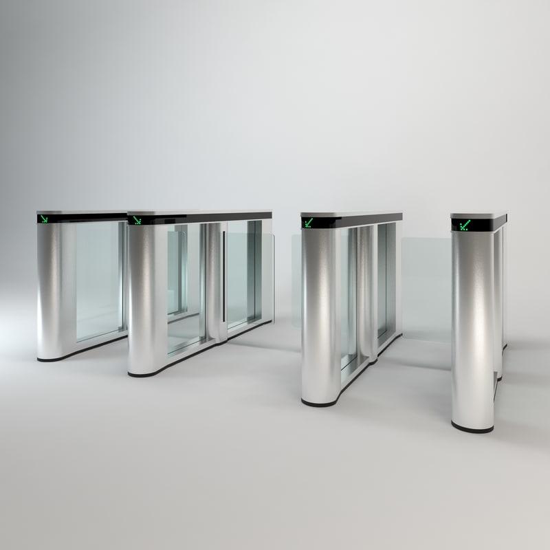 3d model modern turnstile