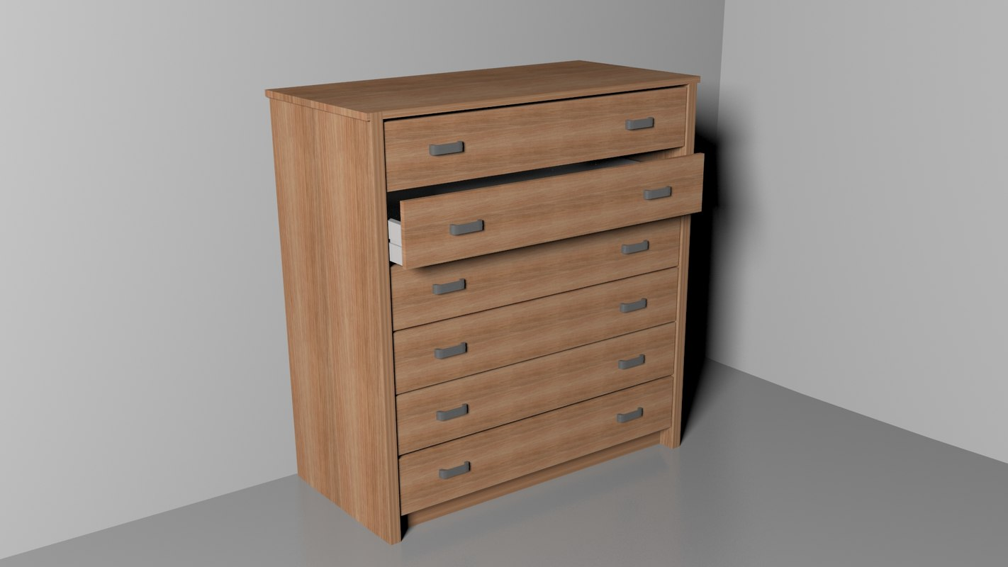 wood clothes drawer 3d max