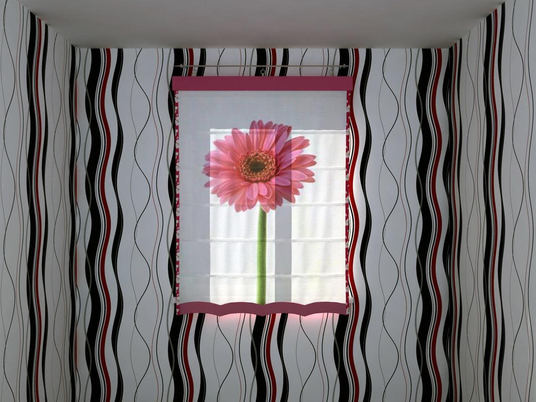 roman shade big flower 3d max