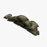 fortification sandbags 3d model