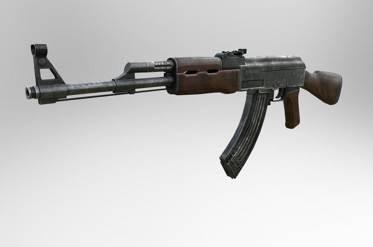 ak-47 7 assault rifle 3d model