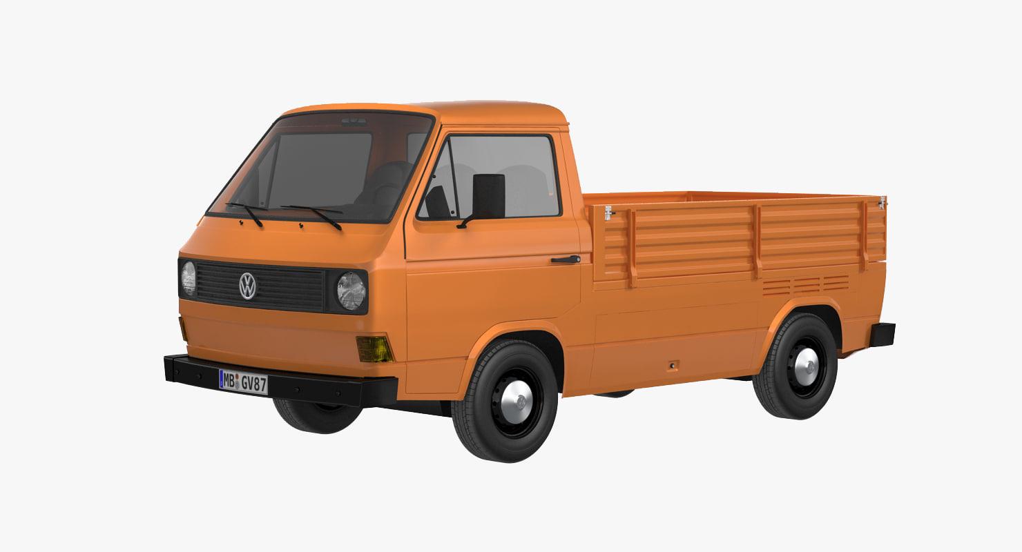 3d model volkswagen t3 pickup. Black Bedroom Furniture Sets. Home Design Ideas