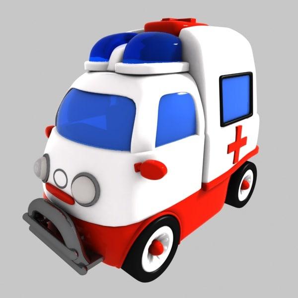 3d model ambulance toon