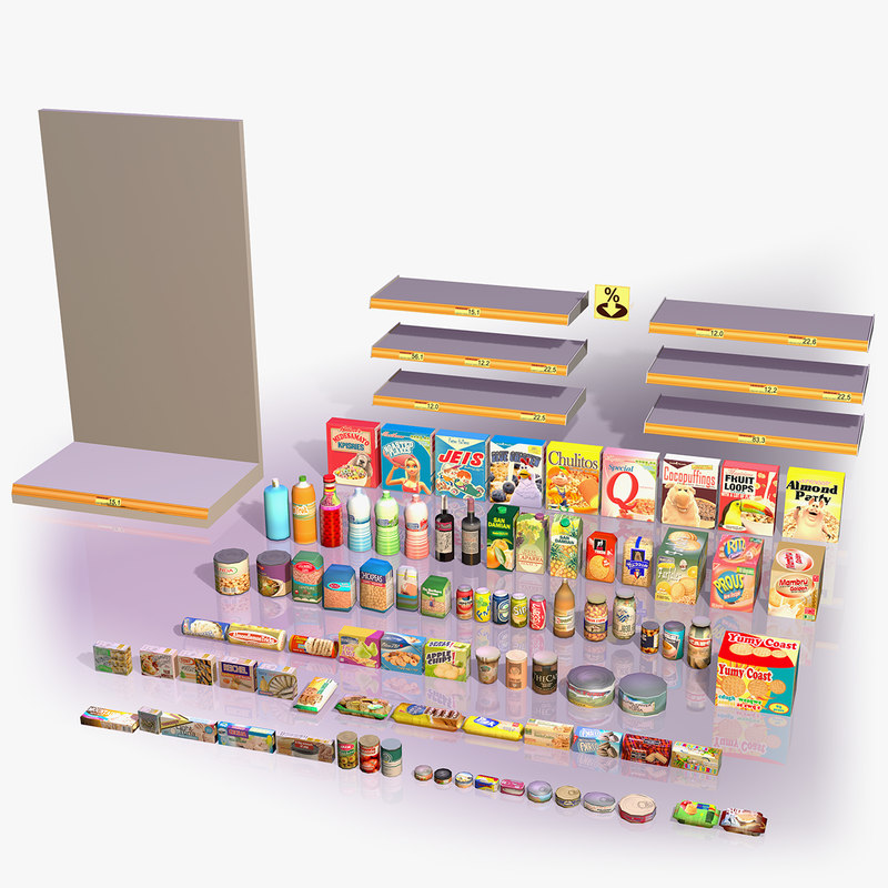 3d products shelves