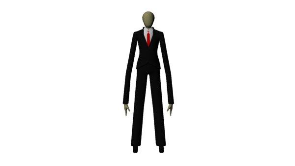 slenderman man slender 3d obj