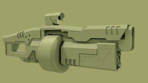 sci fi grenade launcher 3d model