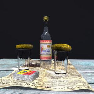 russian vodka set 3d model