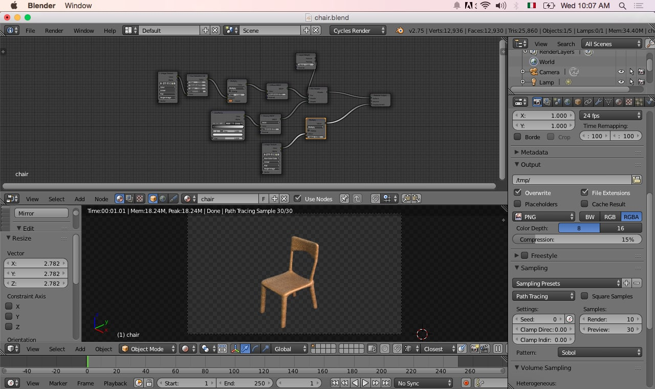 free wooden chair wood 3d model