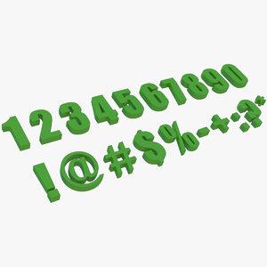 numbers symbols 3d x