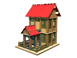 cardboard house 3d model