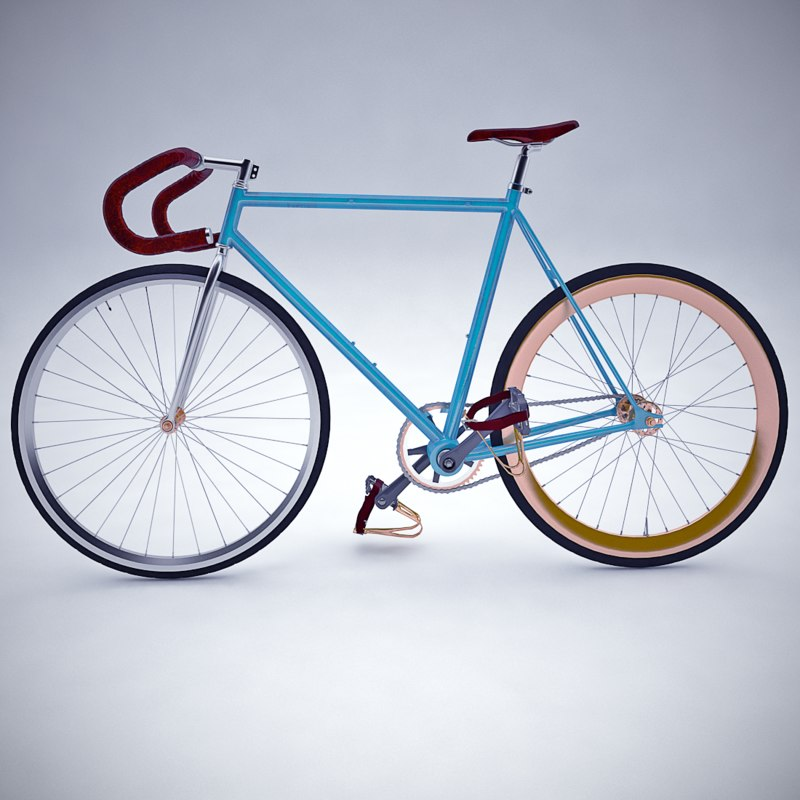 3d max vintage fixed gear bicycle