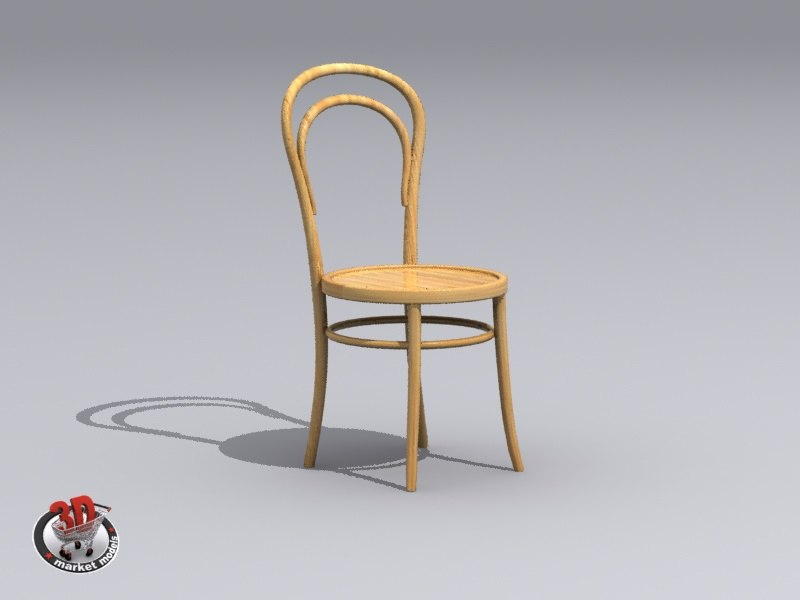 light wooden chair 3d max