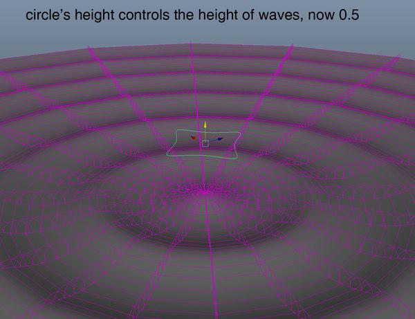 maya rigged radial waves