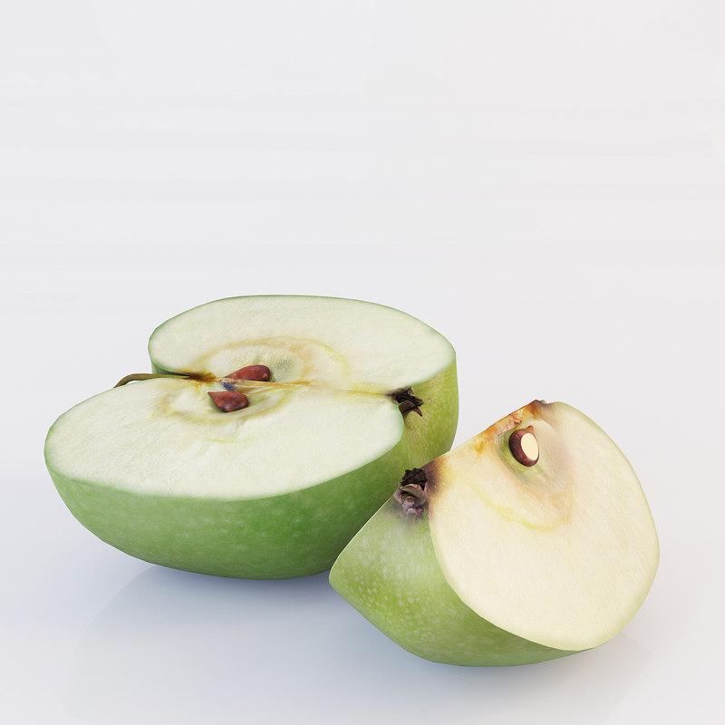 3d model sliced apples