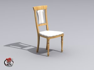wooden chair upholstered 3d model