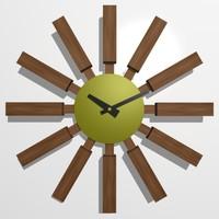 wooden wall clock 07 3d max