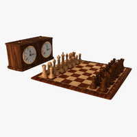 chess set clock 1 3d 3ds
