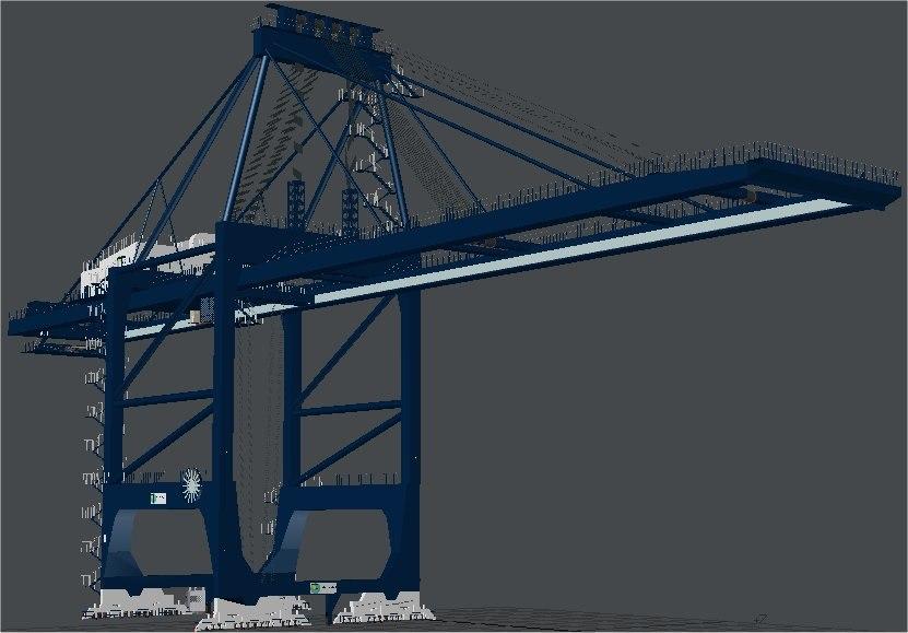 3d post panamax crane felixstowe model