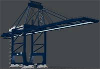 3d post panamax crane felixstowe model