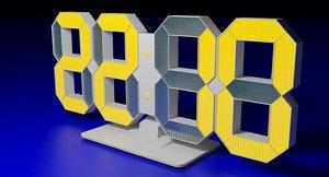 3d model clock digital