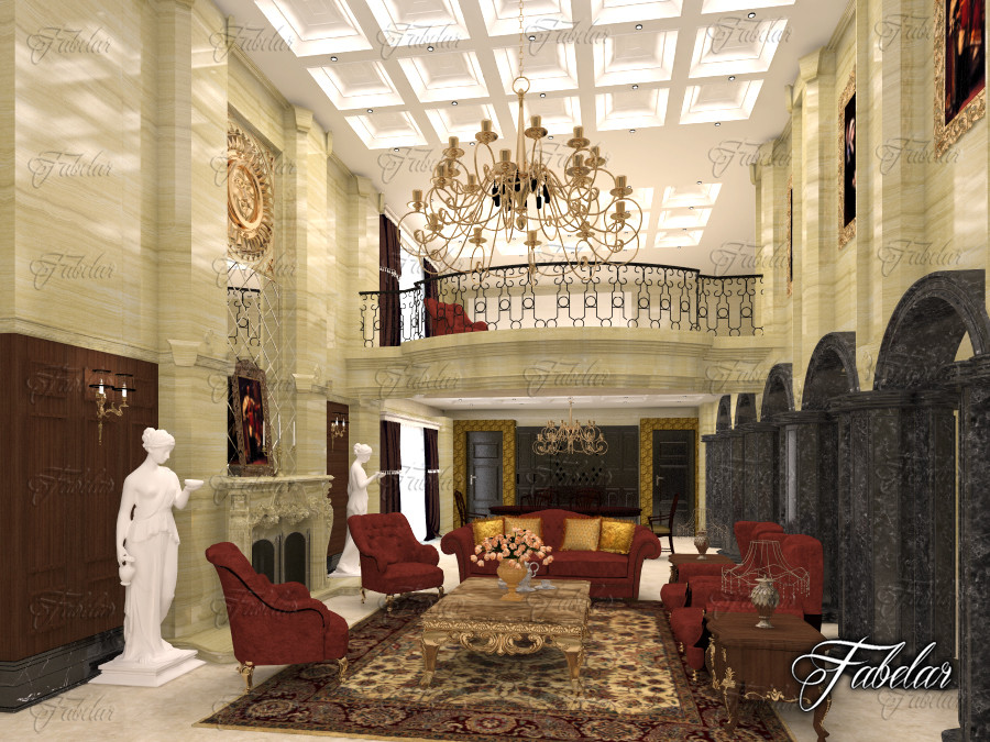 hotel hall 3d model