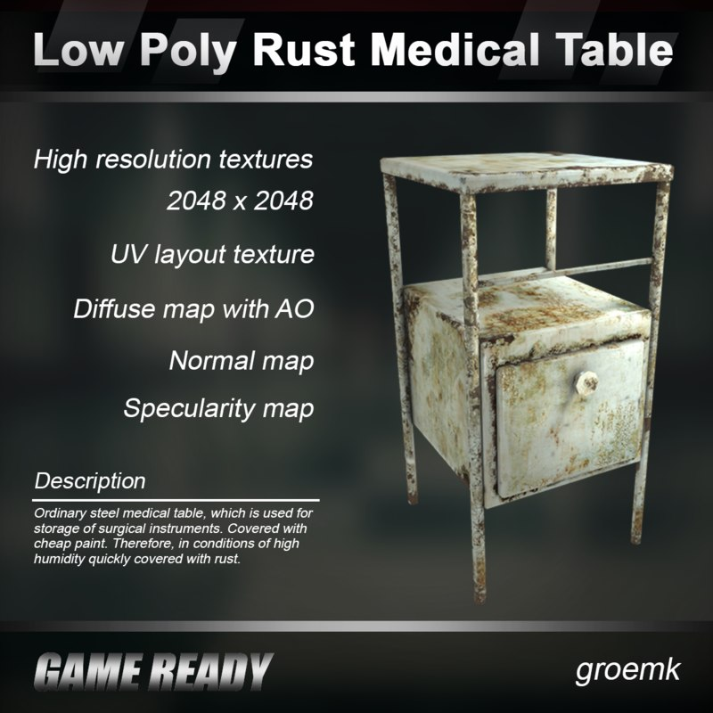 3d rust medical table
