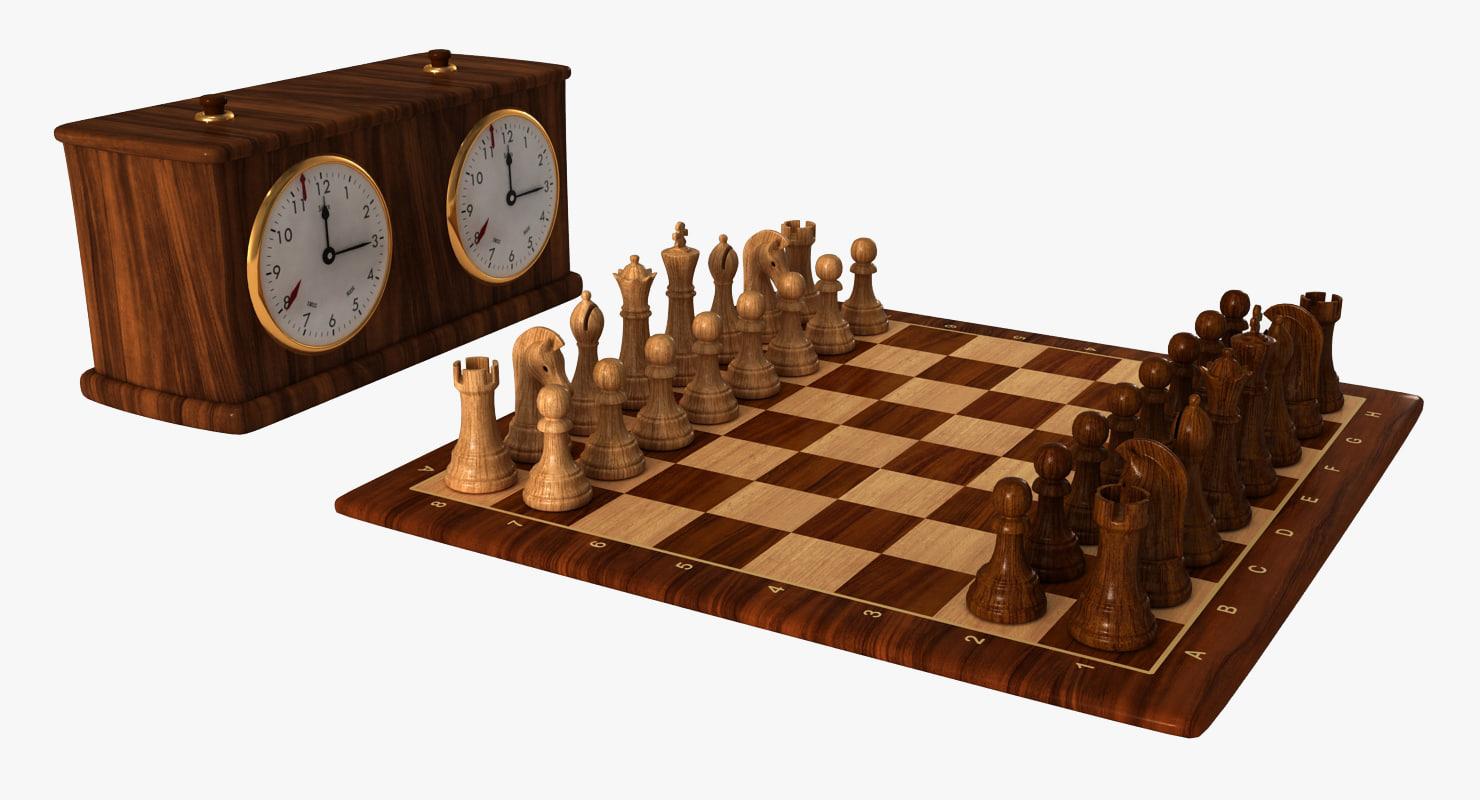 chess set clock 1 3d 3ds