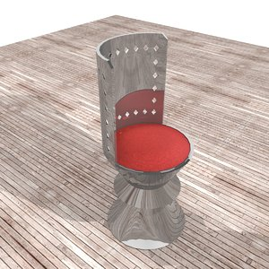 modern metallic chair red 3d model